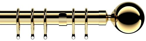 Speedy Nikola 28mm Metal Curtain Pole - Bright Brass